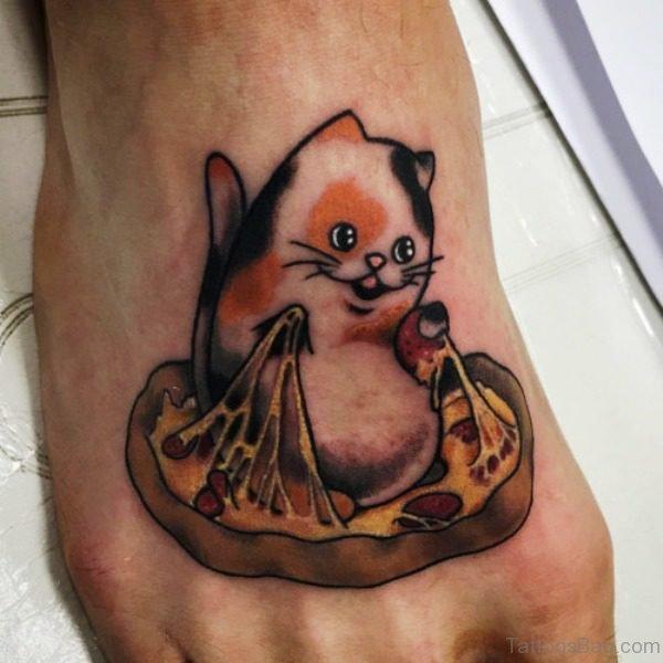 Elegant Cat Tattoo On Foot