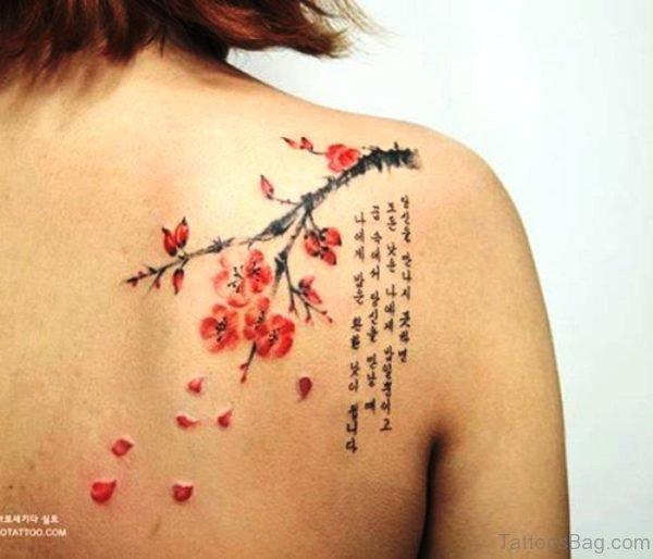 Elegant Cherry Blossom Flower Tattoo