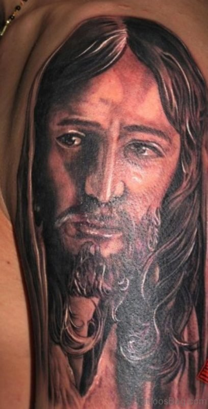 Elegant Christian Jesus Tattoo On Shoulder