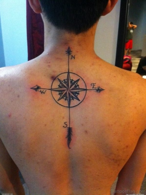 Elegant Compass Tattoo On Back