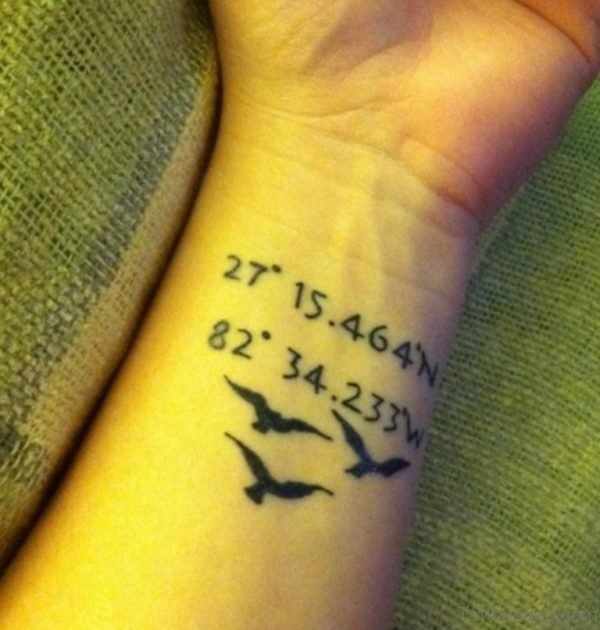Elegant Coordinates Wrist Tattoo