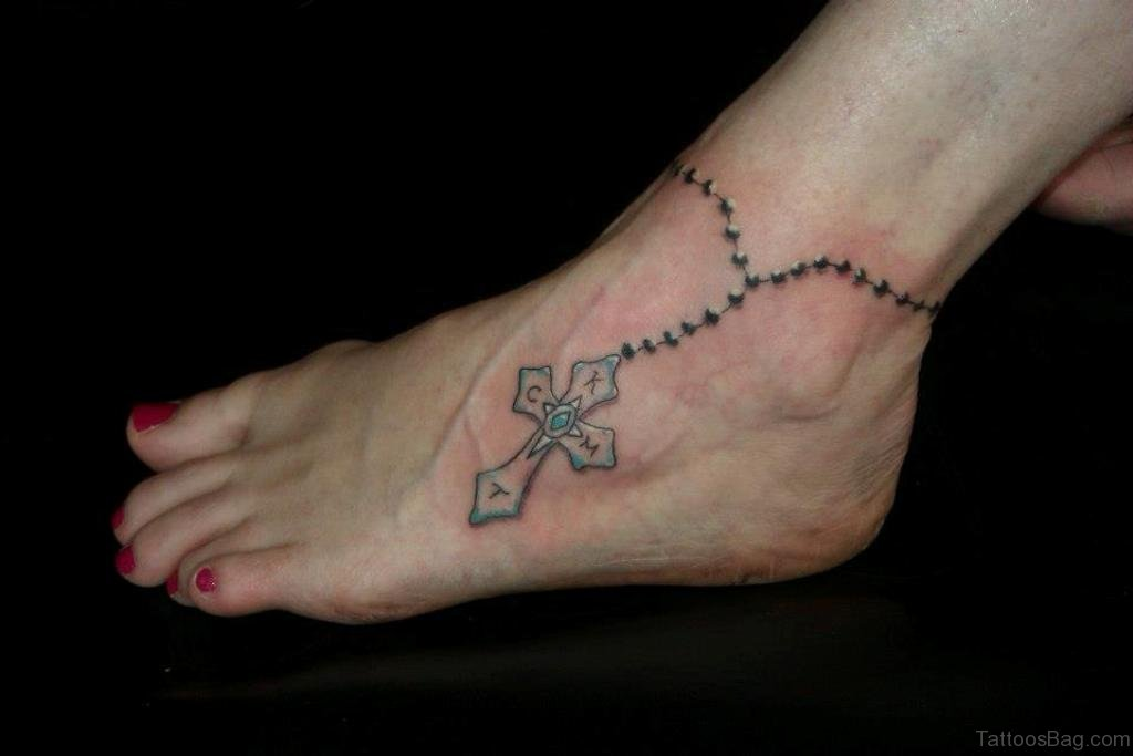80 great cross tattoos for ankle for Elegant cross tattoo designs
