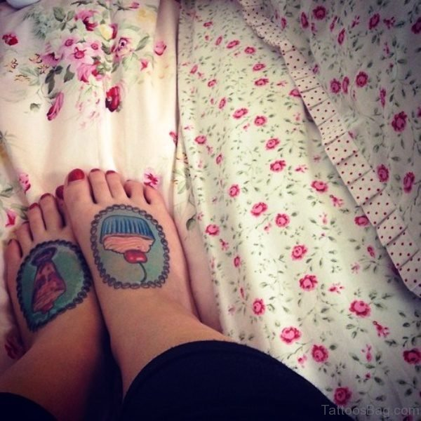 Elegant Cupcake Tattoos On Feet