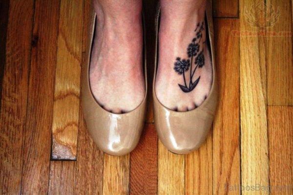 Elegant Dandelion Tattoo On Foot