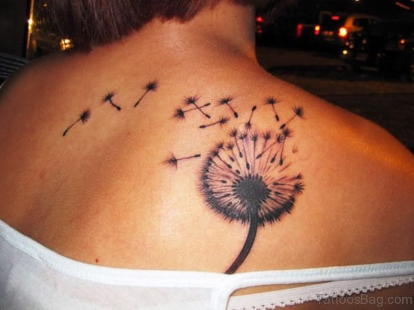 Elegant Dandelion Tattoo On Shoulder