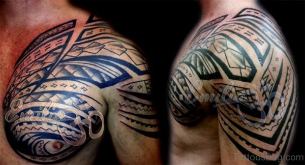 Elegant Desing Samoan Tattoo On Shoulder