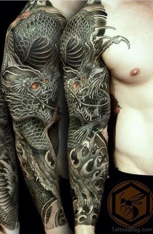 Elegant Dragon Tattoo On Full Sleeve