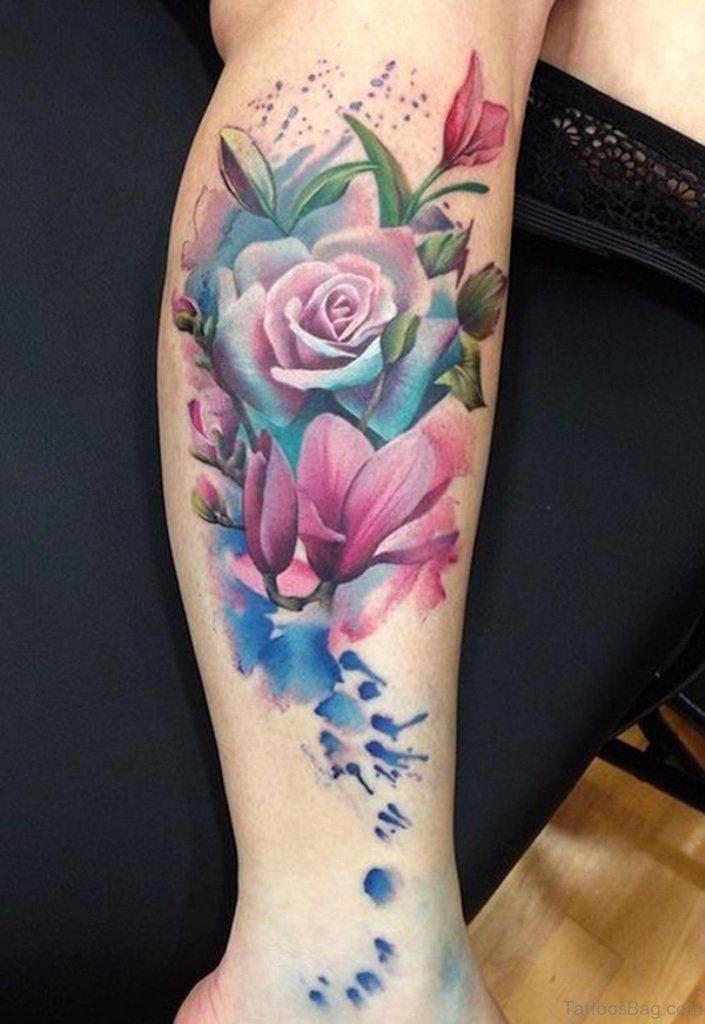 Rose Tattoo On Leg