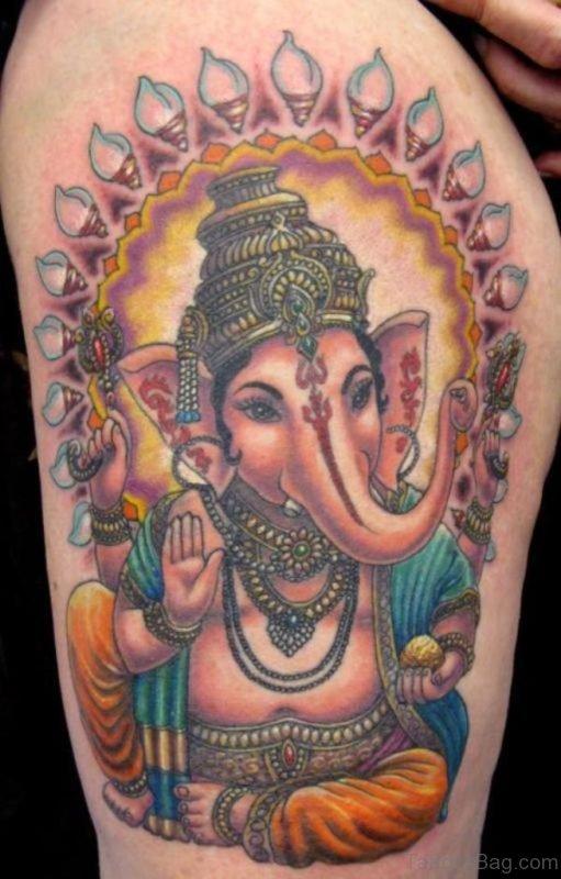 Elegant Ganesha Tattoo On Shoulder