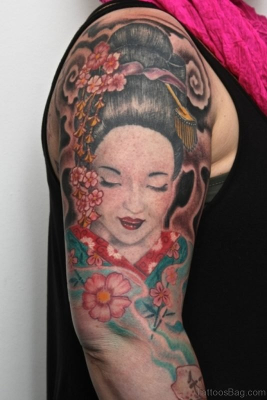 Elegant Geisha Tattoo Design