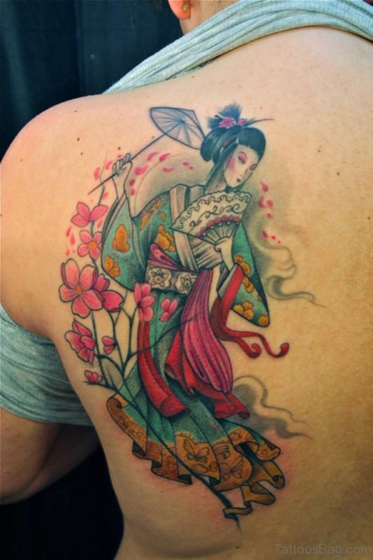 Elegant Geisha Tattoo Design