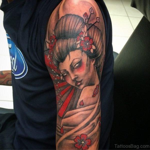 Elegant Geisha Tattoo Design on Shoulder