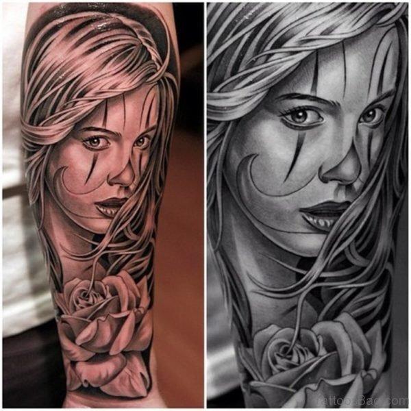 Elegant Girl Portrait Tattoo Design