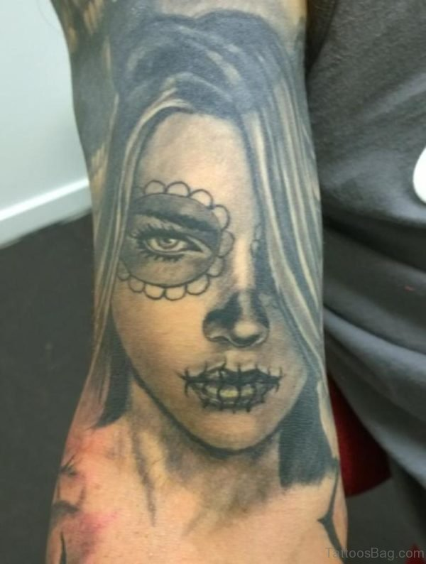 Elegant Girl Portrait Tattoo