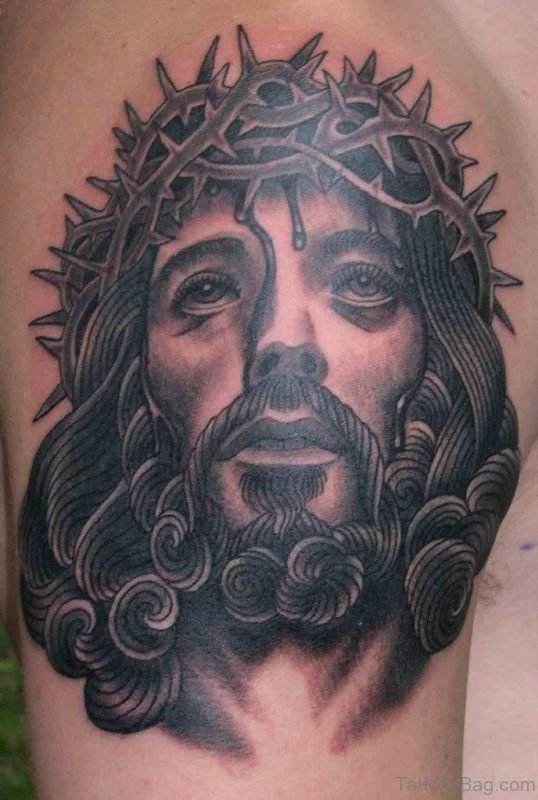 Elegant Jesus Tattoo On Shoulder