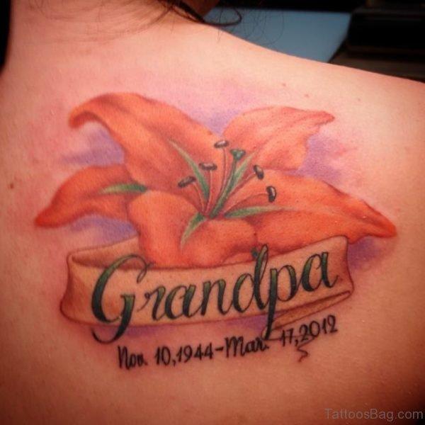 Elegant Lily Flower And Grandpa Tattoo
