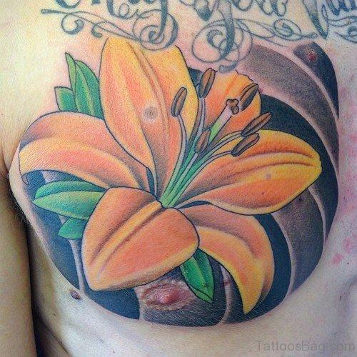 Elegant Lily Flower Tattoo On Chest