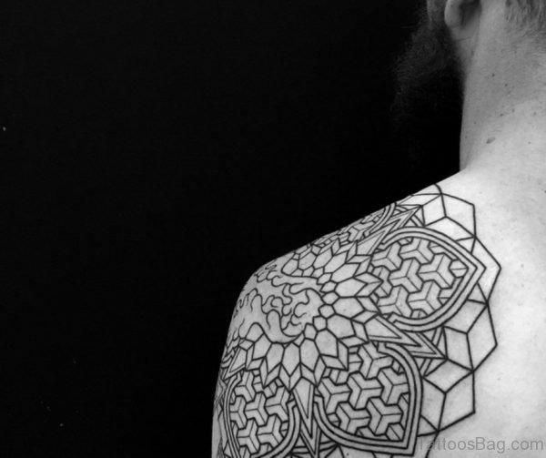Elegant Mandala Tattoo On Shoulder