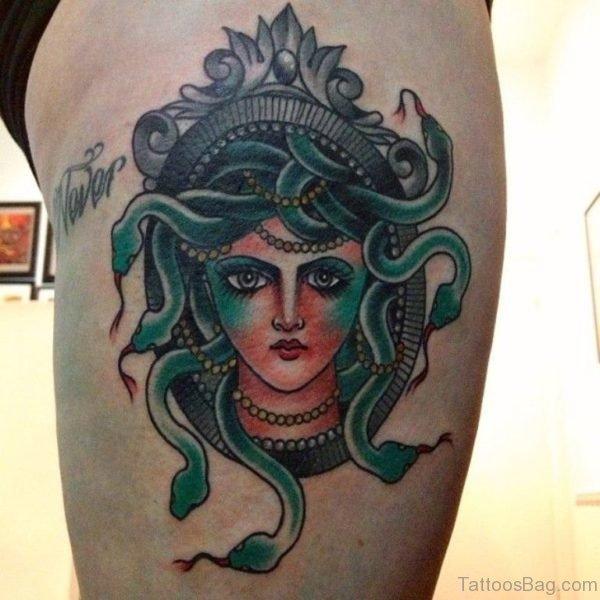 Elegant Medusa Tattoo On Thigh