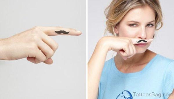 Elegant Mustache Tattoo On Finger