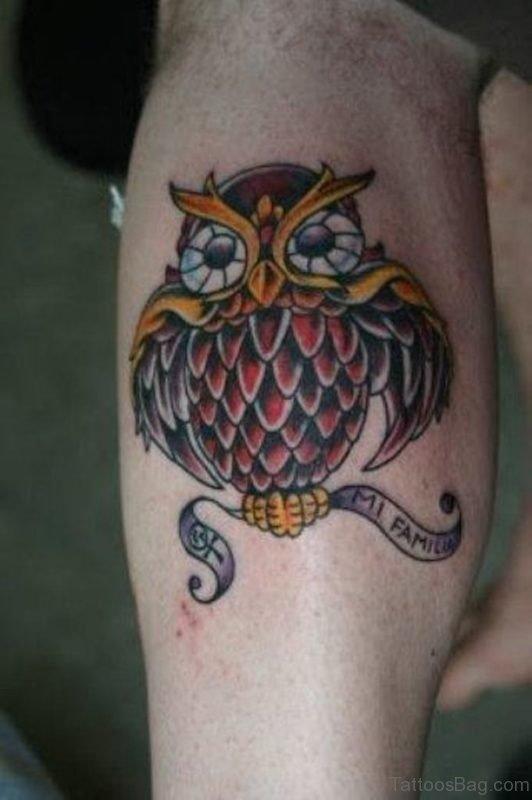 Elegant Owl Tattoo Design On Leg