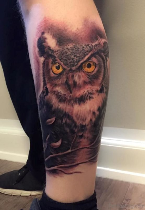 Elegant Owl Tattoo On Leg