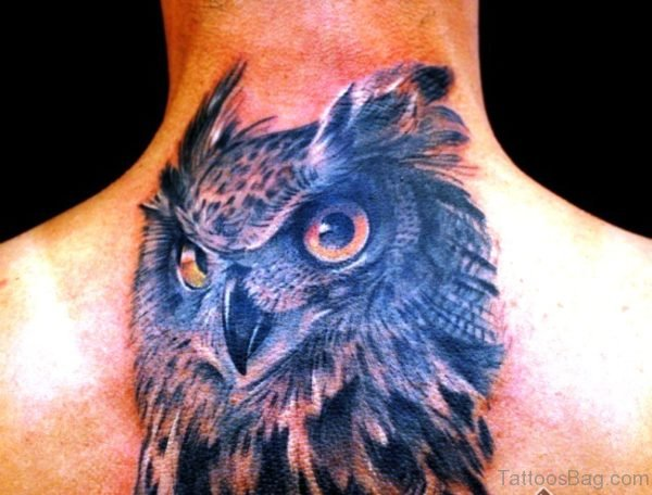 Elegant Owl Tattoo On Neck