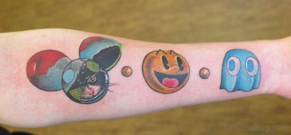 Elegant Pacman Wrist Tattoo