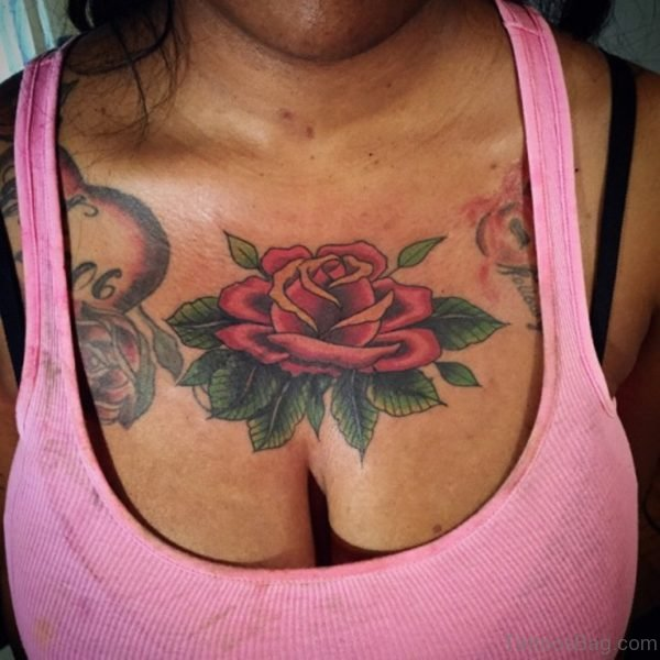 Elegant Rose tattoo on chest