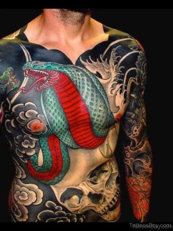 Elegant Snake Tattoo On Chest