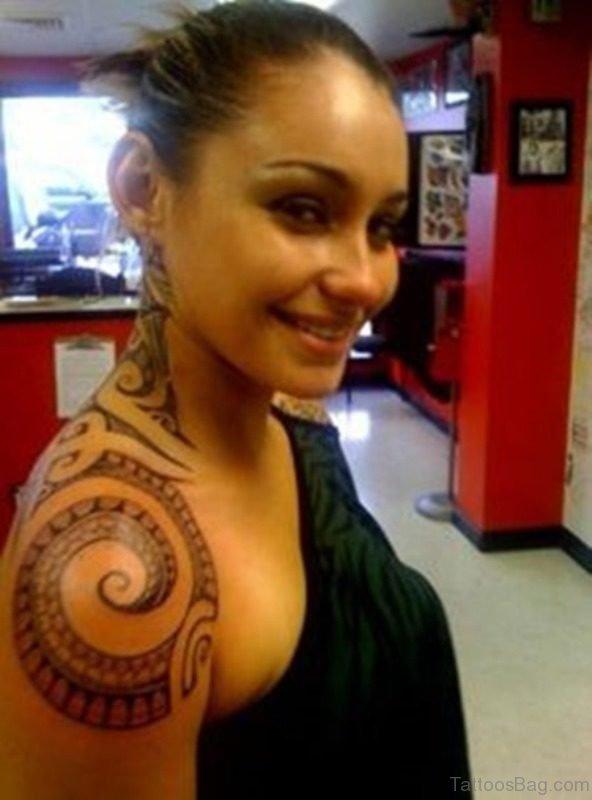 Elegant Tribal Neck Tattoo