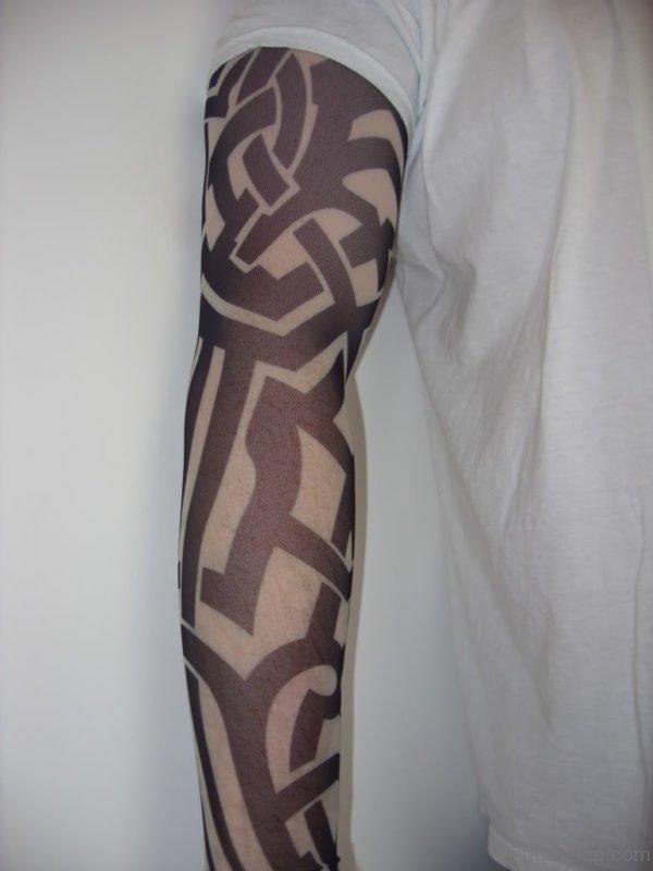 Elegant Tribal Tattoo On Full Sleeve