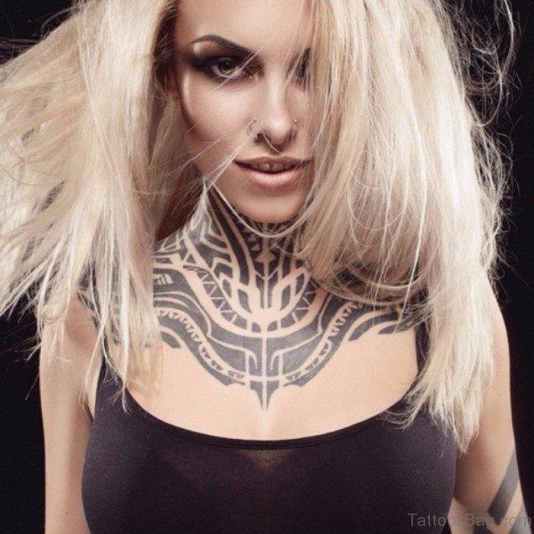 Elegant Tribal Tattoo On Neck