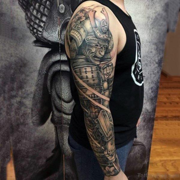 Elegant Warrior Tattoo On Full Sleeve
