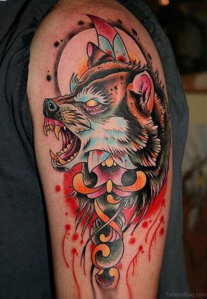 50 amazing wolf tattoos for shoulder for Red wolf tattoo
