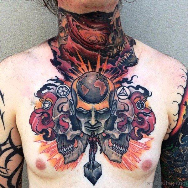 Elegnat Colored Skull Tattoo On Neck