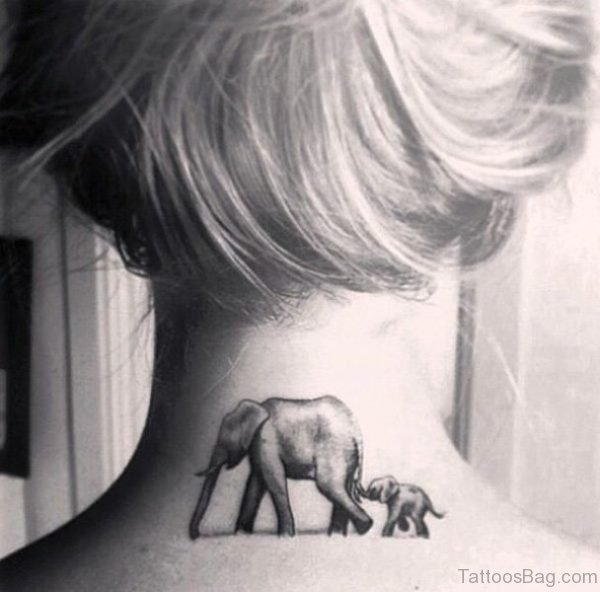 Elephant And Baby Tattoo On Neck