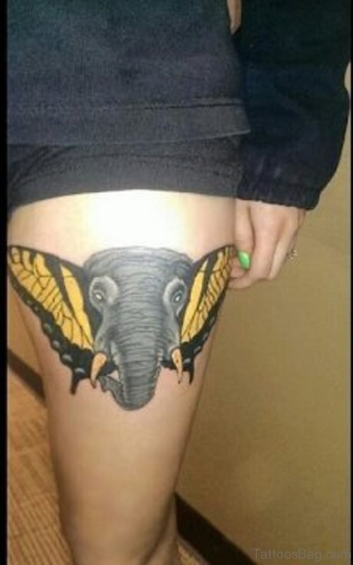Elephant And Butterfly Tattoo