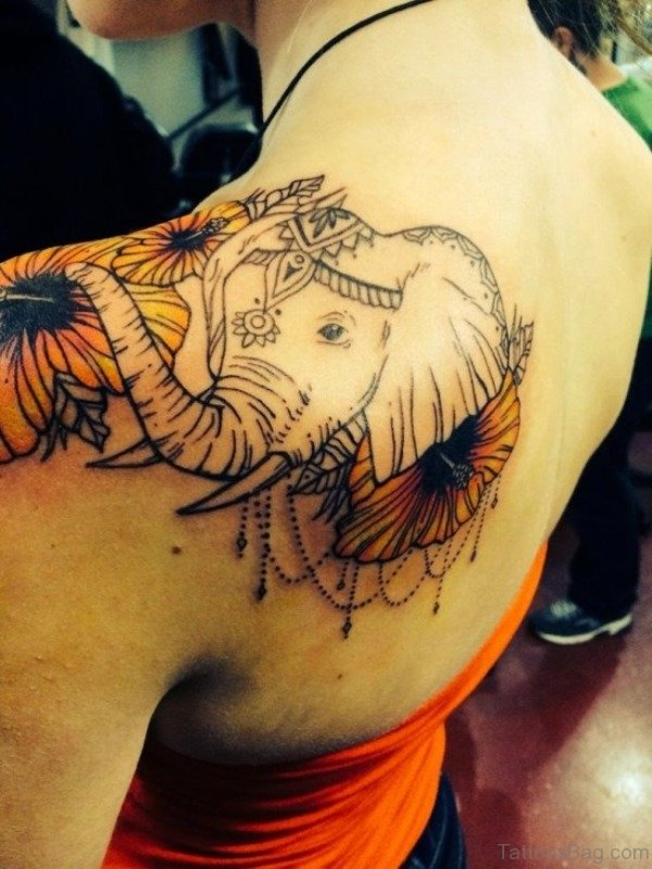 Elephant Shoulder Blade Tattoo Design