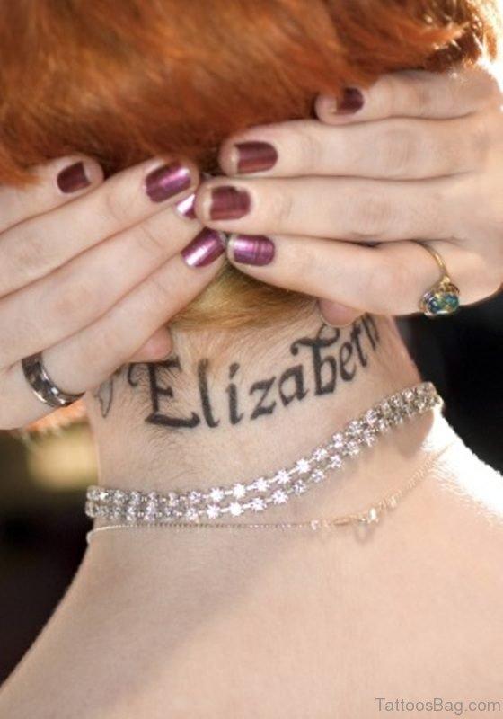 Elizabeth Tattoo On Neck