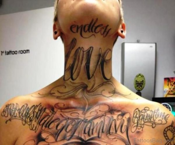 Endless Love Letter Tattoo On Neck
