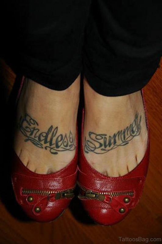 Endless Summer Word Tattoo On Feet