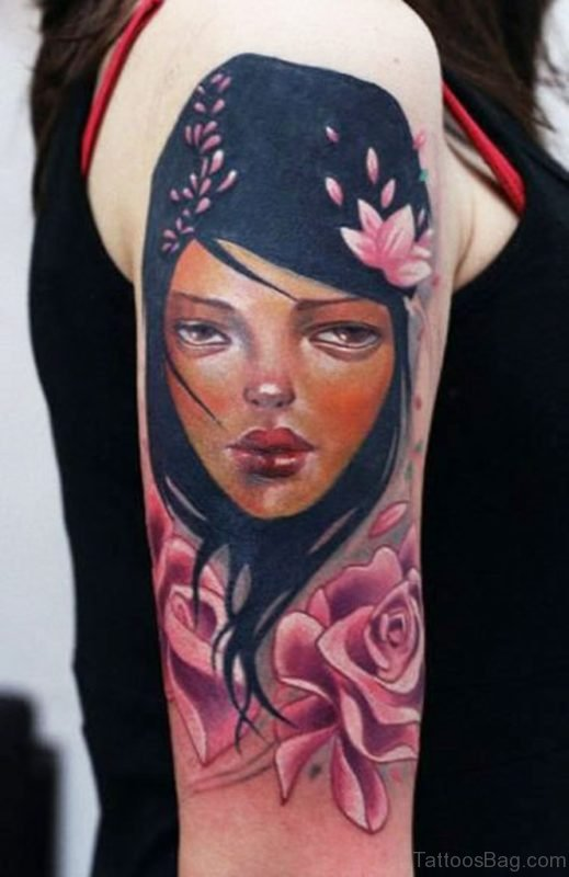 Enriquez Girl Portrait Tattoo Design