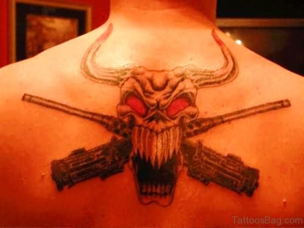 Evil Bull Skull With Guns On Back