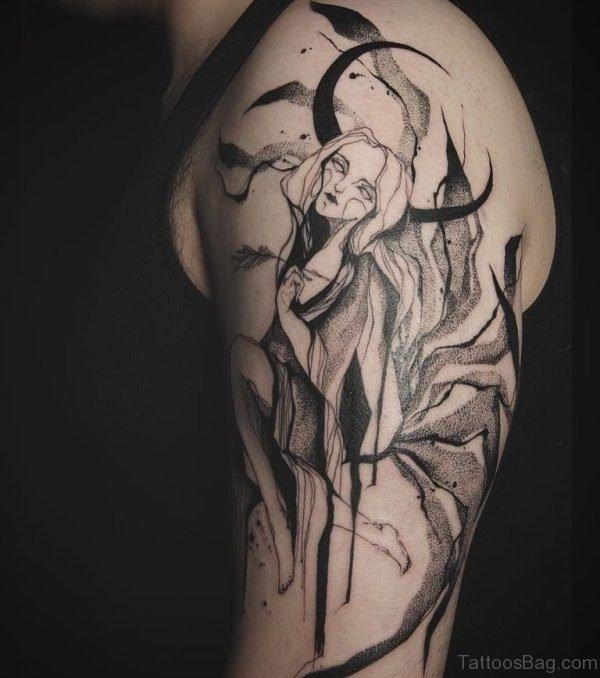 Evil Shoulder Half Sleeves Tattoo Design