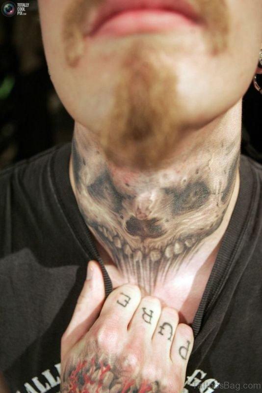 Evil Skull Neck Tattoo