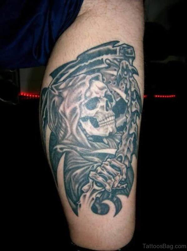 Evils Skull Tattoo On Leg