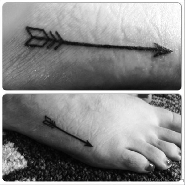 Excellent Arrow Tattoo On Foot