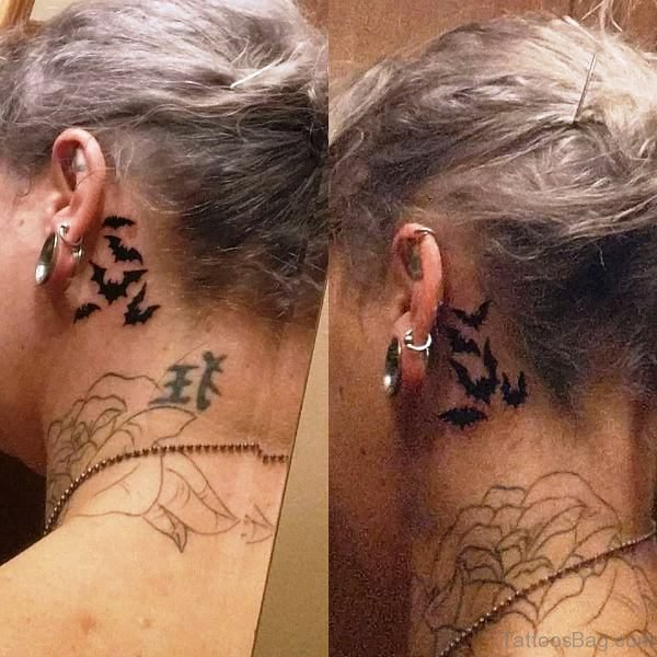Excellent Bat Tattoo Behind Ears