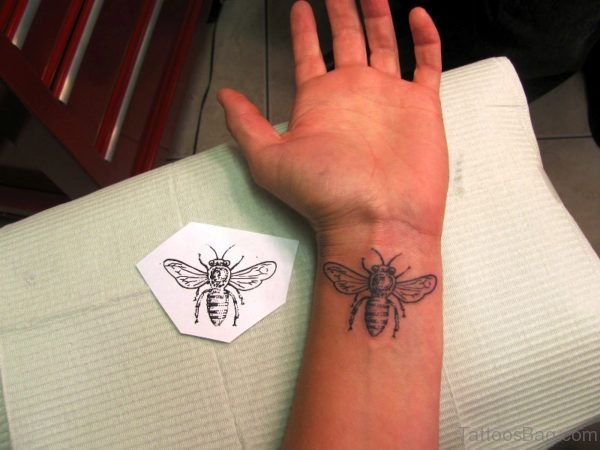 Excellent Bee Tattoo On Wrist